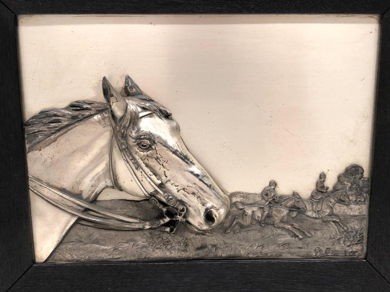 Two Framed Metal Horse Relief Pictures by Georg Bommer, Germany, 1920s For Sale 3