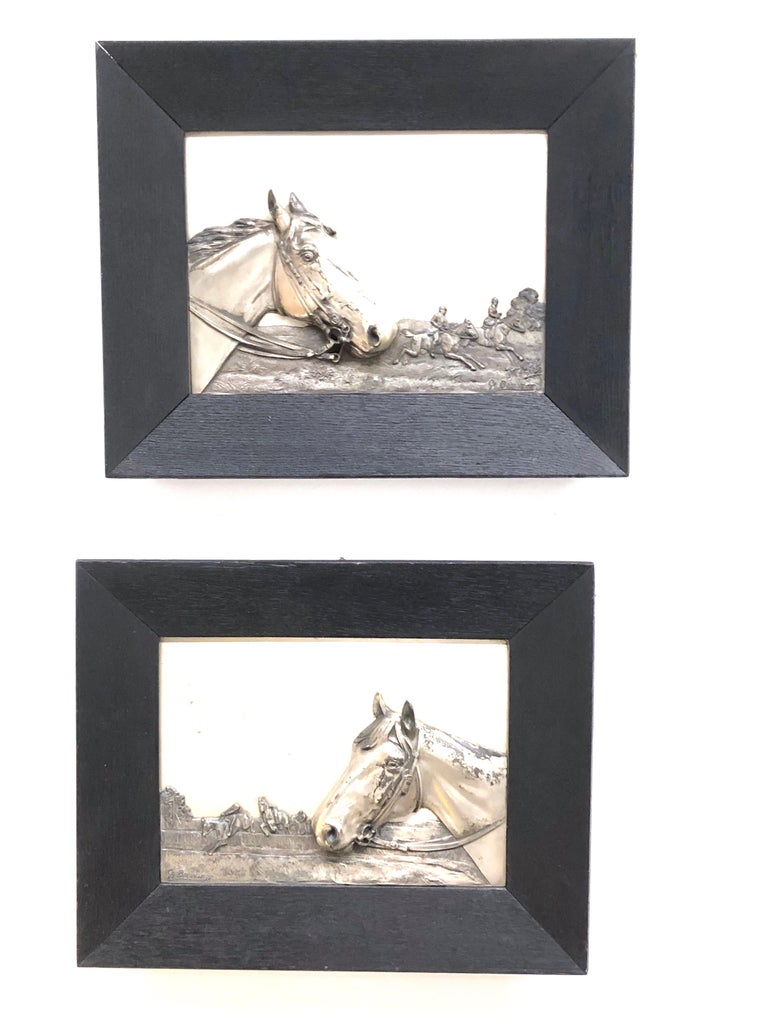 Two Framed Metal Horse Relief Pictures by Georg Bommer, Germany, 1920s For Sale 10