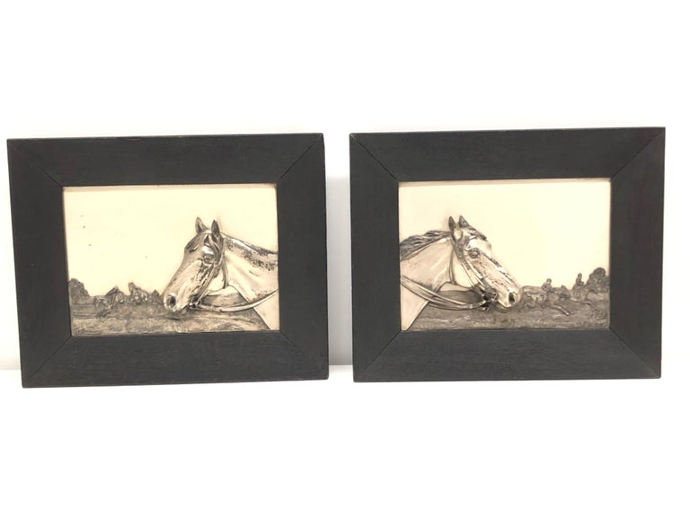 Two Framed Metal Horse Relief Pictures by Georg Bommer, Germany, 1920s For Sale 11
