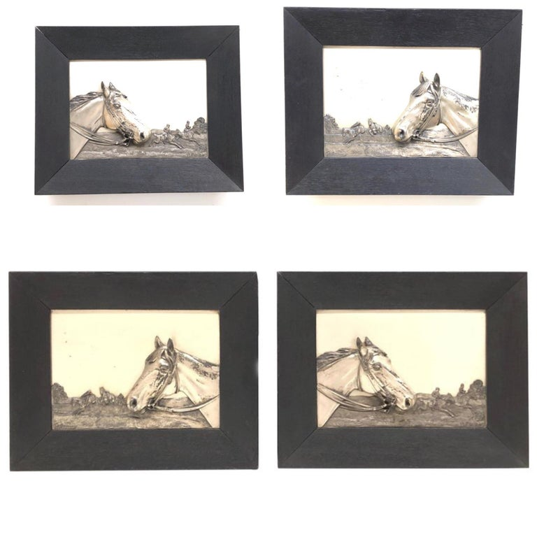 Two Framed Metal Horse Relief Pictures by Georg Bommer, Germany, 1920s For Sale 12