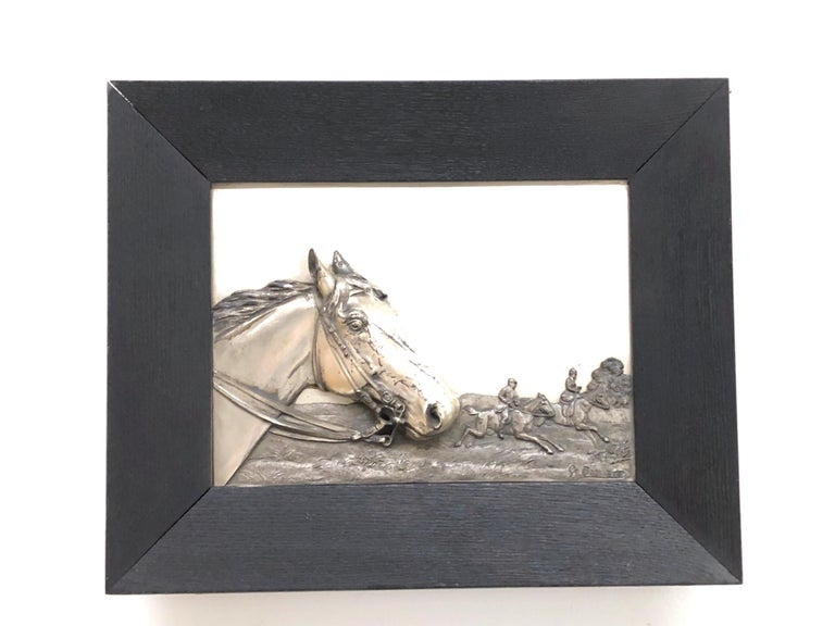 Art Nouveau Two Framed Metal Horse Relief Pictures by Georg Bommer, Germany, 1920s For Sale
