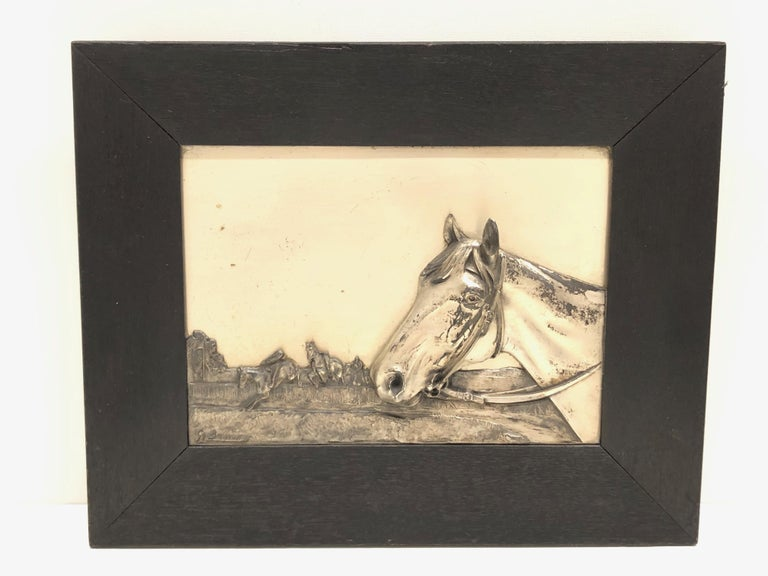 Hand-Carved Two Framed Metal Horse Relief Pictures by Georg Bommer, Germany, 1920s For Sale