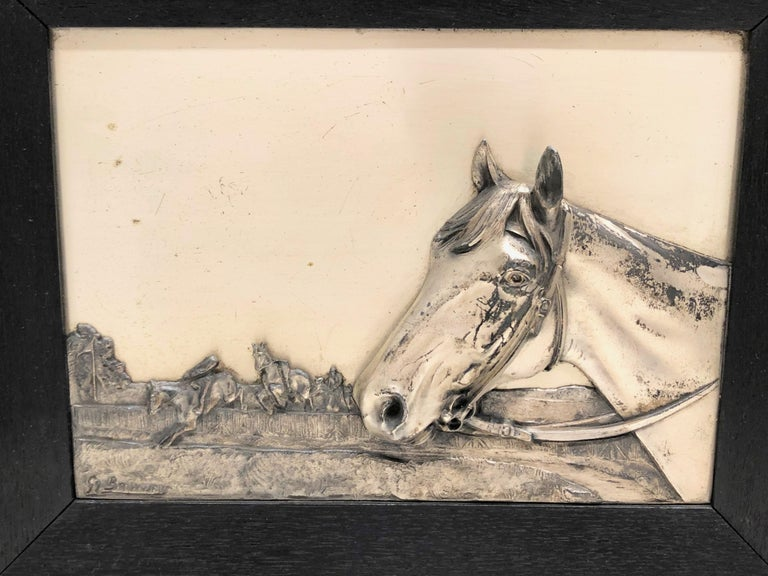 Two Framed Metal Horse Relief Pictures by Georg Bommer, Germany, 1920s In Good Condition For Sale In Nürnberg, DE
