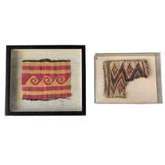 Two Framed Pre-Columbian Textile Fragments Nazca Culture