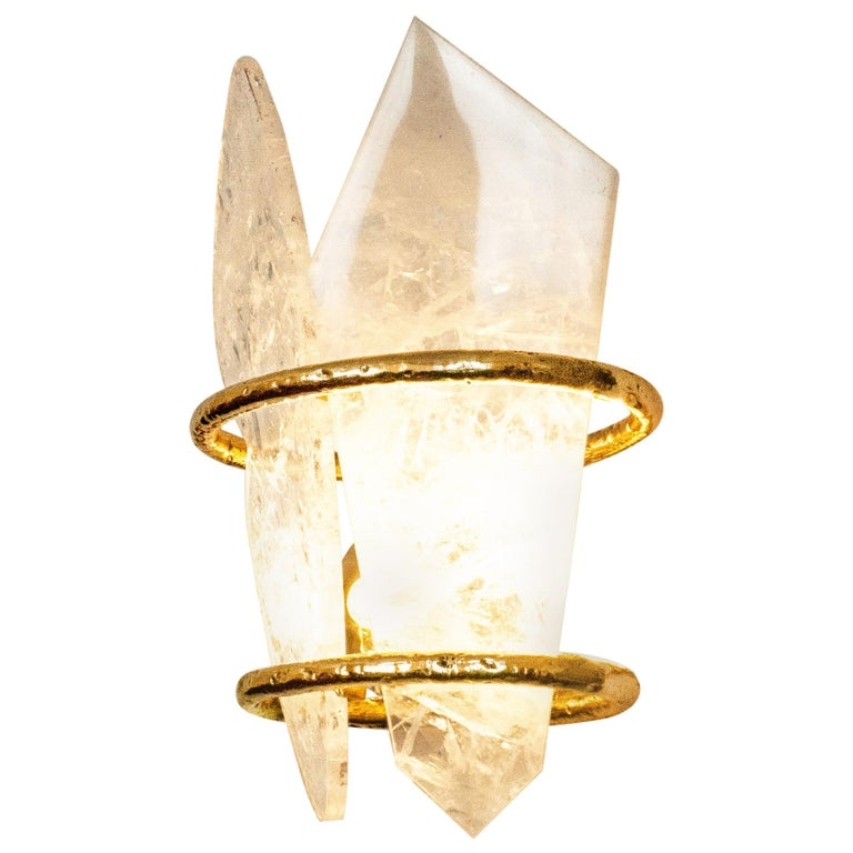 """Two-Free"" Contemporary Wall lamp, Rock Crystal, Cast melted Brass For Sale"