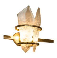 """Two-Free"" Contemporary Wall Sculpure Sconce, Rock Crystal Slabs Cast Brass Body"
