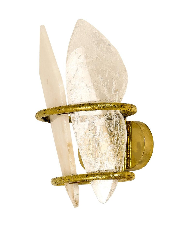 "Italian ""Two-Free"" Contemporary Wall lamp, Rock Crystal, Cast melted Brass For Sale"