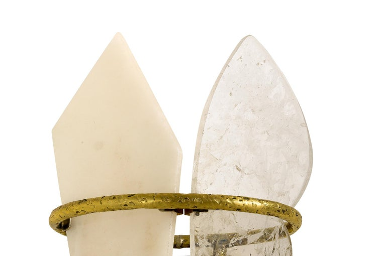 Two-Free Wall Lamp Casting Brass, Rock Crystal, Onyx Handmade in Tuscany For Sale 3