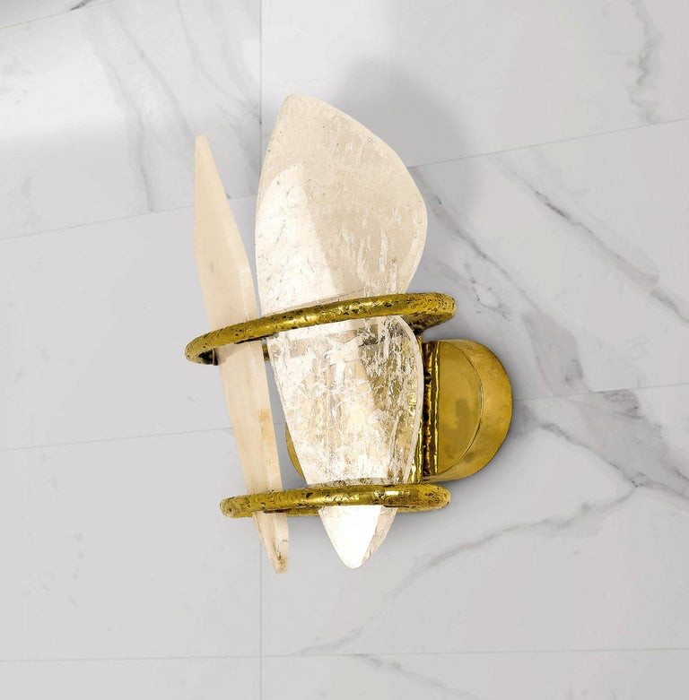 """Two-Free"" Contemporary Wall lamp, Rock Crystal, Cast melted Brass For Sale 1"