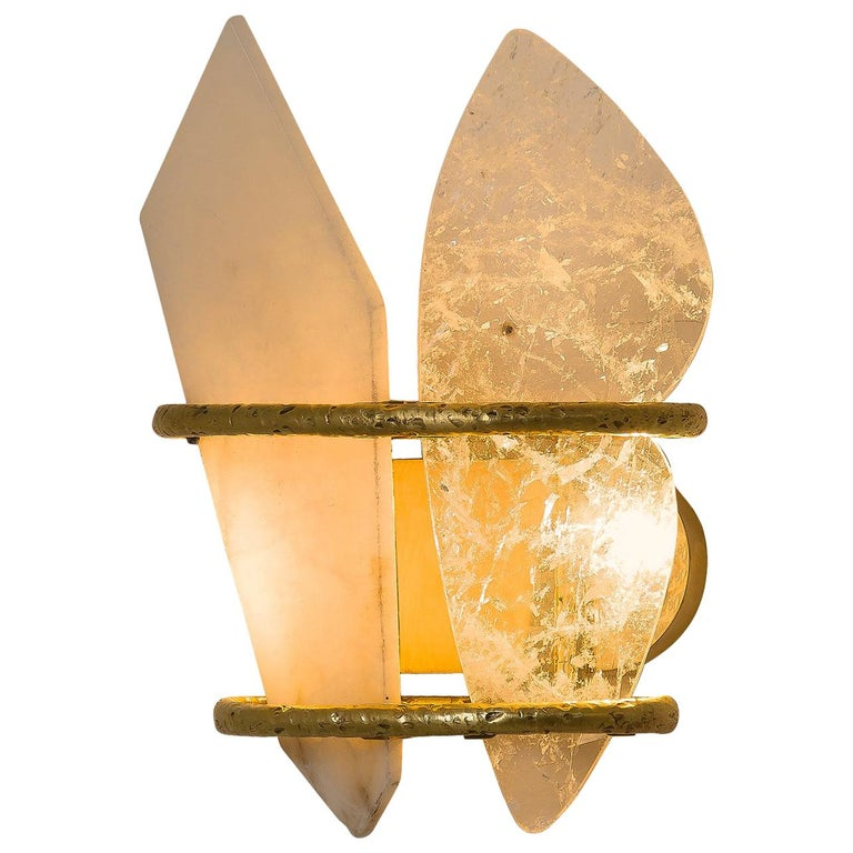 """""""Two-Free"""" Wall Lamp casting Brass, rock crystal, onyx Handmade in Tuscany For Sale"""