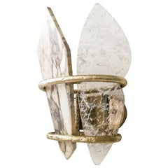 Two-Free Wall Lamp Casting Brass, Rock Crystal, Onyx Handmade in Tuscany