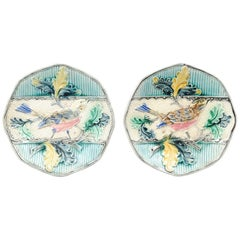 Two French 19th Century Majolica Plates with Bird Perched on Oak Tree Branch