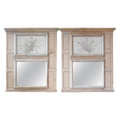 Two French 19th Century Painted Pine Trumeau Mirrors with Original Mirror Glass