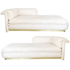Two French Art Deco Chaise Lounges with Brass Base