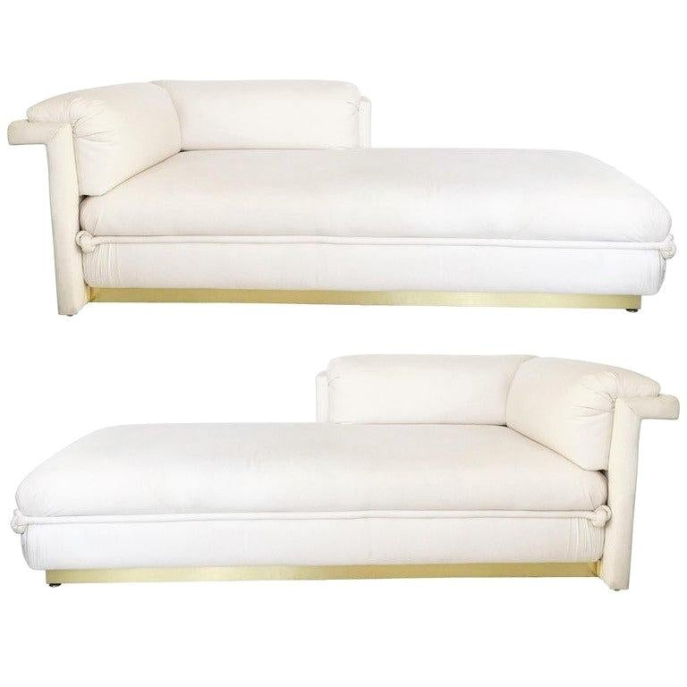 Astounding Two French Art Deco Chaise Lounges With Brass Base Creativecarmelina Interior Chair Design Creativecarmelinacom