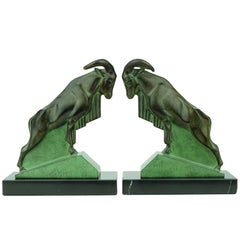 Two French Art Deco Mouflons Bookends by Max Le Verrier