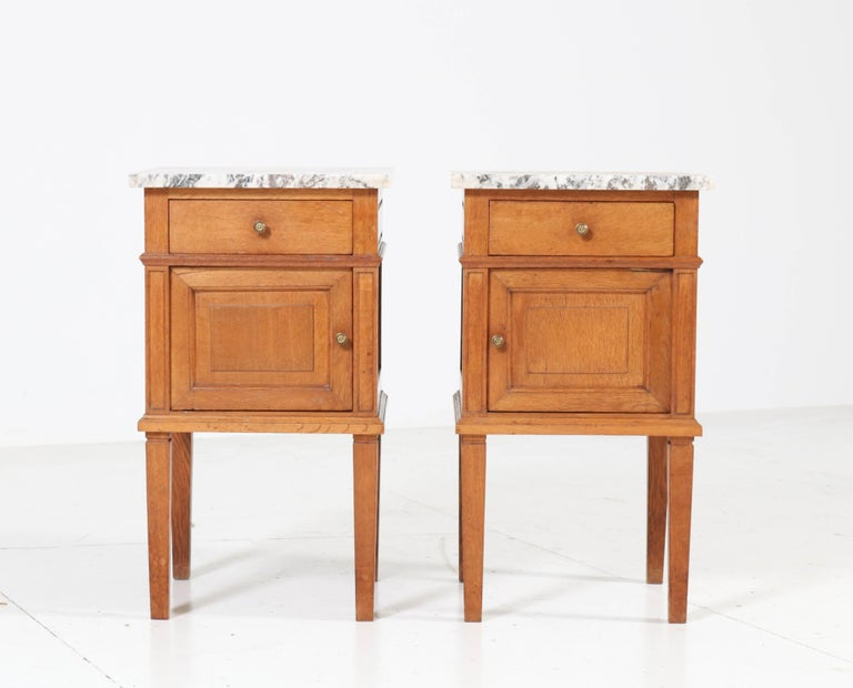 Mid-20th Century Two French Art Deco Nightstands or Bedside Tables, 1930s For Sale