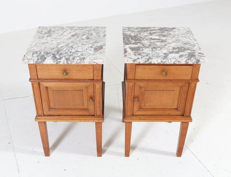 Brass Two French Art Deco Nightstands or Bedside Tables, 1930s For Sale