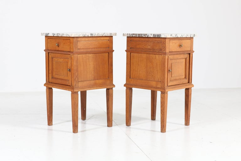 Two French Art Deco Nightstands or Bedside Tables, 1930s For Sale 2