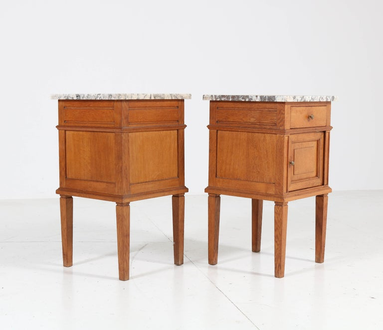 Two French Art Deco Nightstands or Bedside Tables, 1930s For Sale 3