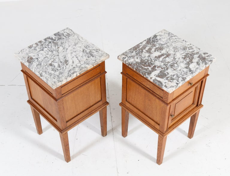 Two French Art Deco Nightstands or Bedside Tables, 1930s For Sale 4