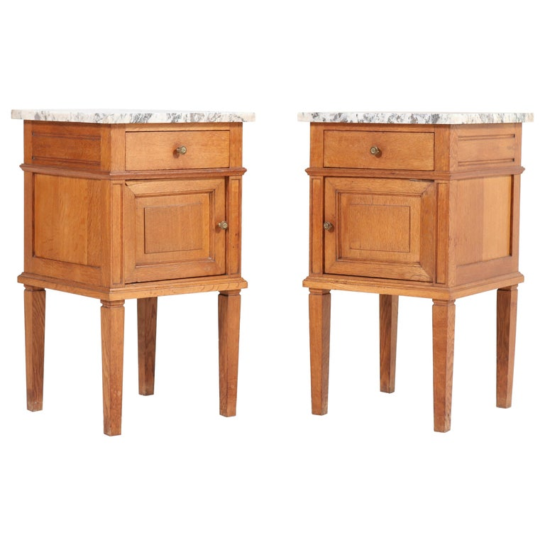 Two French Art Deco Nightstands or Bedside Tables, 1930s For Sale