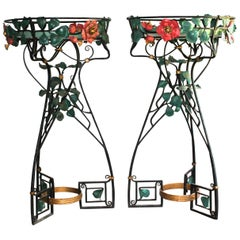 Two French Art Nouveau Belle Epoque Wrought Iron Botanical Fantasy Planters