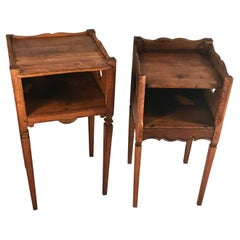 Two French Baroque Style Bed Side Tables, around 1800, Oak