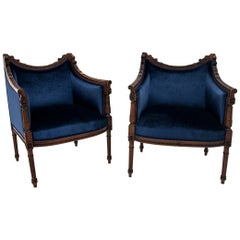 Two French Blue Bergere Chairs, Restored