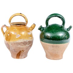 Two French Confit Glazed Terracotta Jars