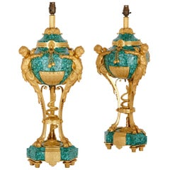 Two French Gilt Bronze Mounted Malachite Table Lamps