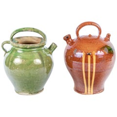 Two French Glazed Pots in Confit Pot Form