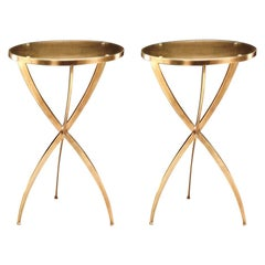 Two French Modern Neoclassical Round Solid Brass Side Tables, Andre Arbus