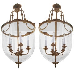 Two French Modern Neoclassical Style Brass and Blown Glass Chandeliers/ Lanterns