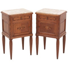 Two French Oak Art Deco Nightstands or Bedside Tables, 1930s