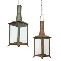 Two French Tôle Lanterns