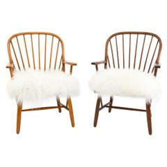 Two Fritz Hansen Easy Chairs Attributed to Palle Suenson & Gustav Adolf Schneck