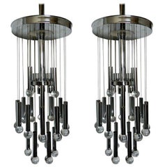 Pair of  Gaetano Sciolari Chandeliers