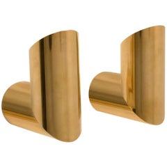 Two Geometrical Brass Sconces by Nanda Vigo for Arredoluce, Italy, 1970