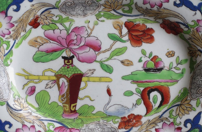 Two Georgian Mason's Ironstone Oval Dishes Table & Flower Pot Pattern, Ca 1818 For Sale 5