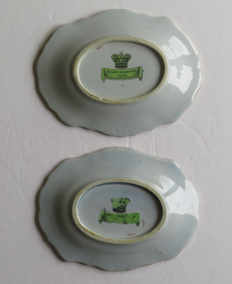 Two Georgian Mason's Ironstone Oval Dishes Table & Flower Pot Pattern, Ca 1818 For Sale 6