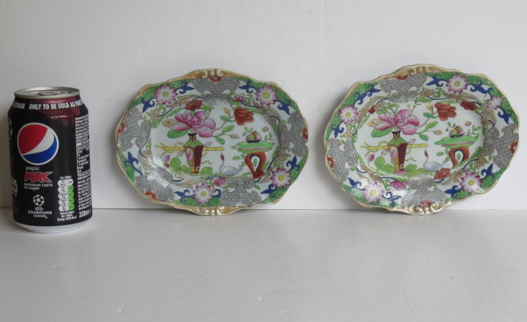 Two Georgian Mason's Ironstone Oval Dishes Table & Flower Pot Pattern, Ca 1818 For Sale 11
