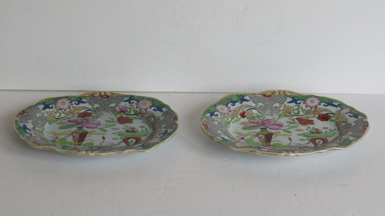 English Two Georgian Mason's Ironstone Oval Dishes Table & Flower Pot Pattern, Ca 1818 For Sale