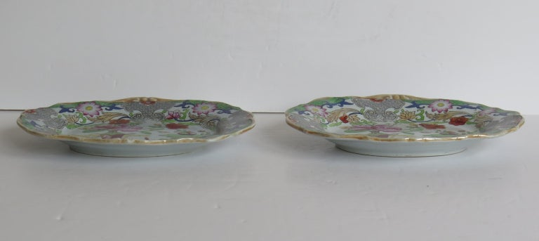 Hand-Painted Two Georgian Mason's Ironstone Oval Dishes Table & Flower Pot Pattern, Ca 1818 For Sale