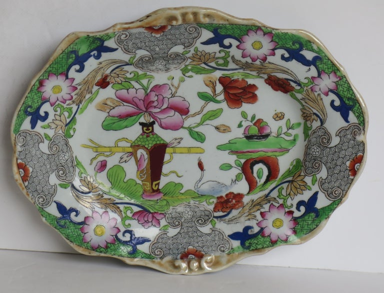 19th Century Two Georgian Mason's Ironstone Oval Dishes Table & Flower Pot Pattern, Ca 1818 For Sale