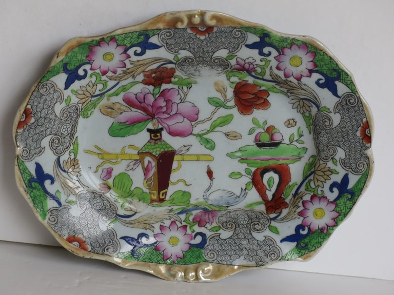 Two Georgian Mason's Ironstone Oval Dishes Table & Flower Pot Pattern, Ca 1818 For Sale 1