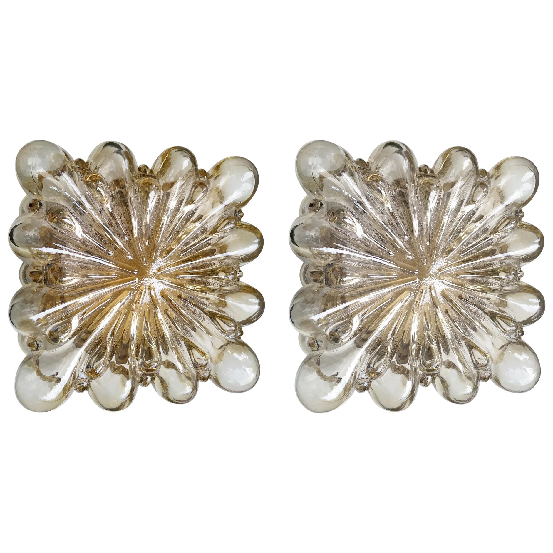 Two German Vintage Amber Glass Ceiling or Wall Lights Flushmounts, 1960s