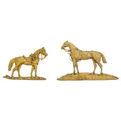 Two Gilt Bronze Appliqués Depicting Standing Horse Figures, 19th Century