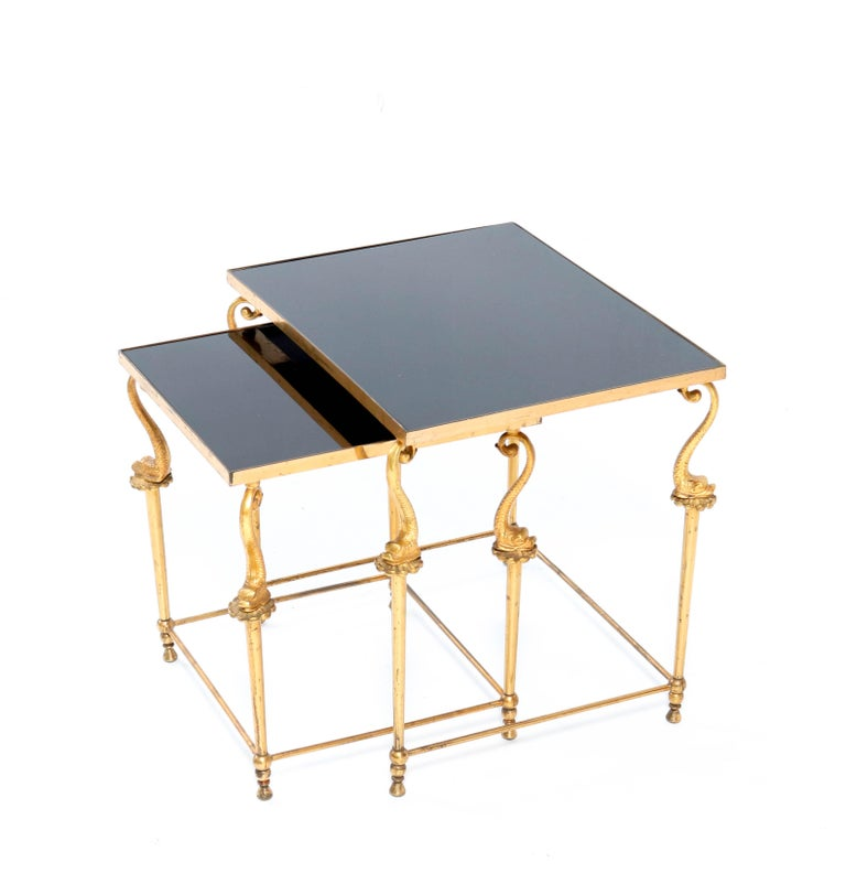 French Two Gilt Metal Hollywood Regency Side Tables, 1970s For Sale