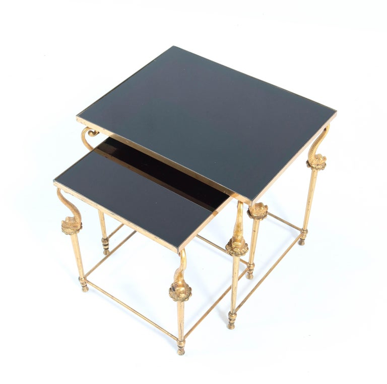 Late 20th Century Two Gilt Metal Hollywood Regency Side Tables, 1970s For Sale